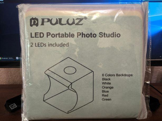 Лайткуб фотобокс Puluz 2 LED подсветка, предметная съемка. 24см.