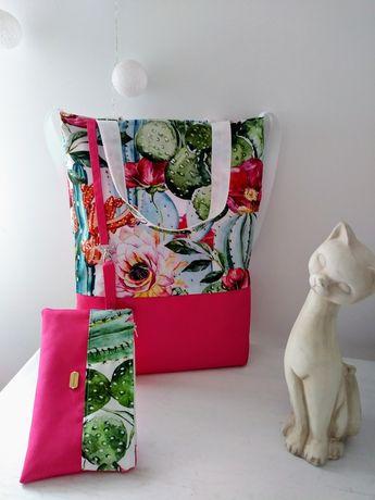 Zestaw torebka+ kosmetyczka kwiaty kaktus A4