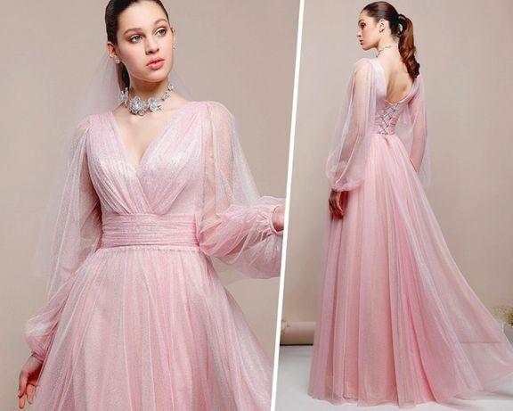 Роскошное нежно-розовое вечернее платье на выпускной/свадьбу/роспись