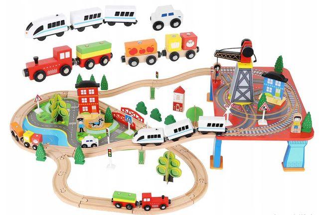 Детская деревянная дорога, поезд на батарейках, 89 елементов