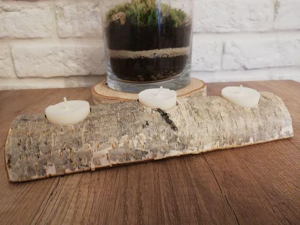 Świeczniki drewniane wesele ślub rustykalny