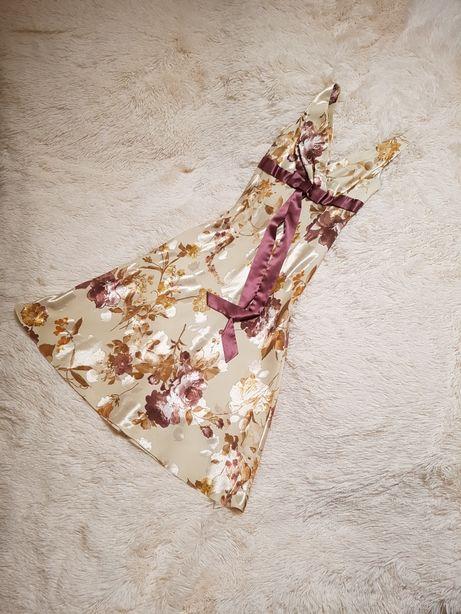 Sukienka ecru w kwiaty rozm. 36