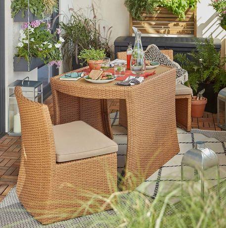Zestaw balkonowy Rattanowy Stół + krzesła beżowy. Okazja!
