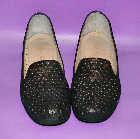 Туфли темно-серебристые кожаные