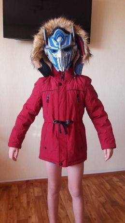 Куртка парка красная на мальчика-зима