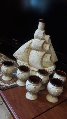 Сувенир бутылка керамика набор штоф корабль
