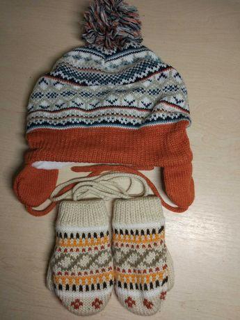 Шапка зимняя рукавицы варежки baby club