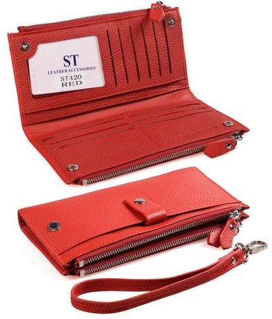 кожаный женский кошелек с запястным ремешком (под купюры и карточки)