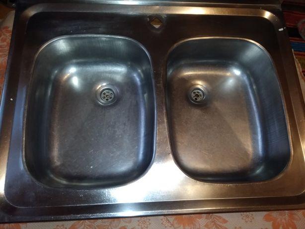 Мойка кухонная двойная нержавеющая сталь нержавейка добротная
