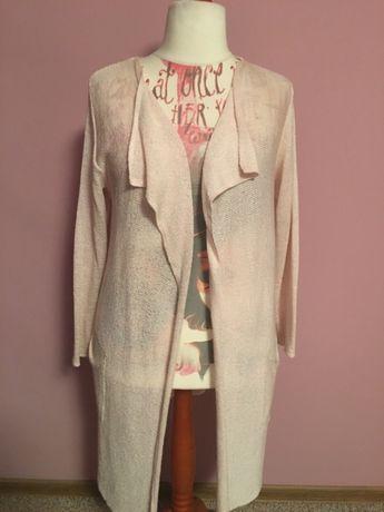 Długi sweter/kardigan pastelowy róż 46/48
