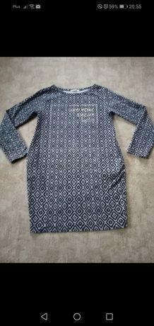 tunika sukienka  bluzka wzorek napis kieszonki