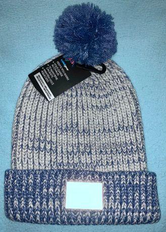 Nowa oryginalna niebieska czapka z pomponem UNDER ARMOUR srebrna nitka