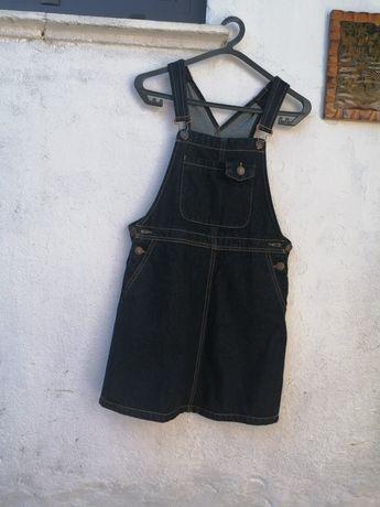 Jardineira vestido ganga nova 34