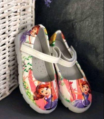 Крутые стильные детские туфельки на липучках с мигающей подошвой