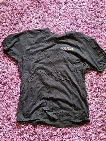 T-shirt Policja z krótkim rękawem kolor czarny xl