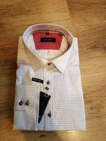 NOWA męska koszula biała w czerwono czarne x ( nadruk ) -Body Fit