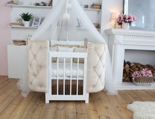 Детская овальная кроватка трансформер 3в1 Ovalbed каретная стяжка
