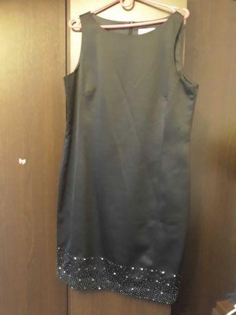 Suknia prosta czarna z cekinowym dołem
