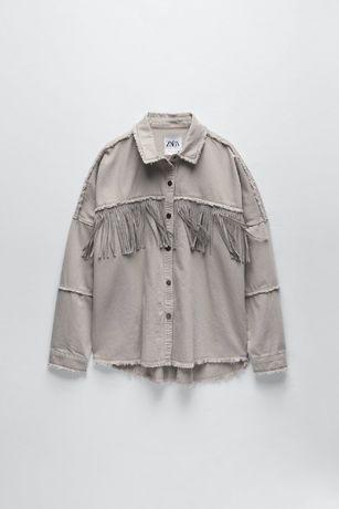Джинсовая куртка - рубашка Zara с бахромой