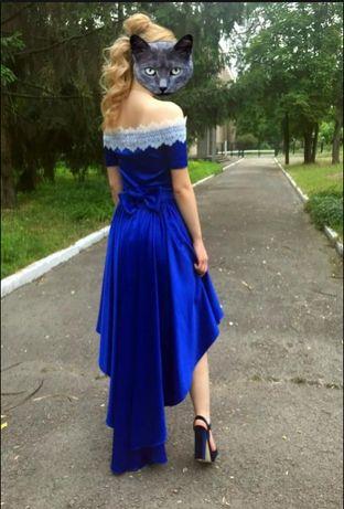 Платье с кружевом, синий атлас