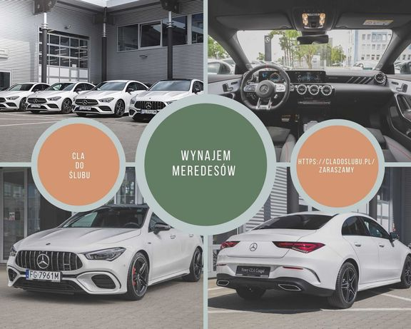 Wynajem Mercedes-Benz/ CLA180/AMG/A45S/ do ślubu/coupe/ wypożyczalnia
