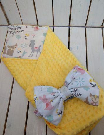 Плюшевый жёлтый плед конверт на выписку для новорожденного