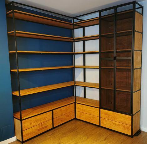 Regał narożny loft. Osiem pojemnych szuflad z cichym domykiem .