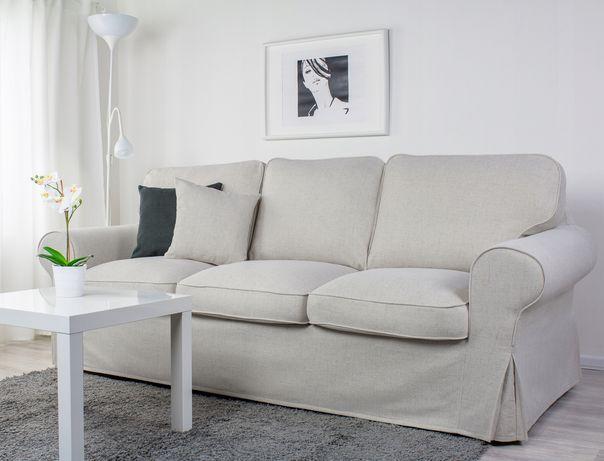 Ikea sofa rozkładana z pojemnikiem, beżowy pokrowiec