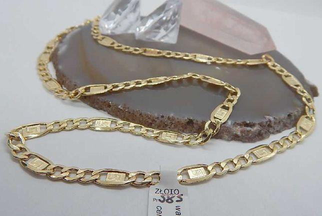 złoty łańcuszek splot figaro pełne pr 585 waga 10,9 d długość 55 cm