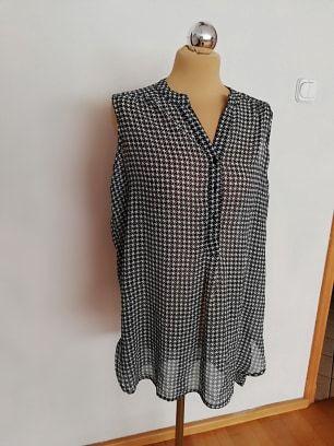 Bluzka koszula w kratkę czarno-biała 44 46 XL XXL 48