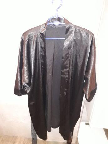 Czarny satynowy szlafrok XL / XXL