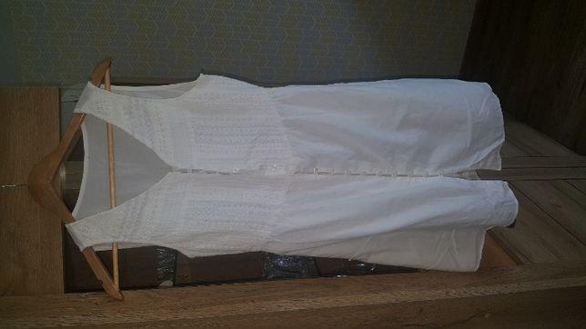 Letnia biała sukienka, przewiewna, wyszywany przód rozmiar S/M