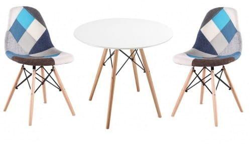 Zestaw stół okrągły i 2 krzesła patchwork niebieskie