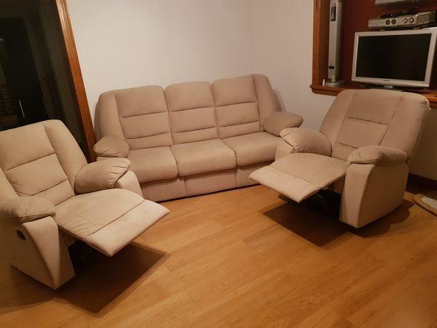 Wypoczynek beżowy kanapa 2 fotele