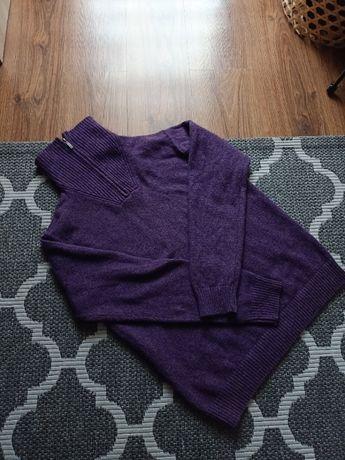 Sweter Gant fiolet wełna bawełna alpaka L