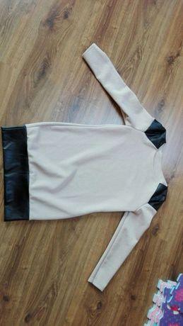 Sukienka tunika skórzane wstawki