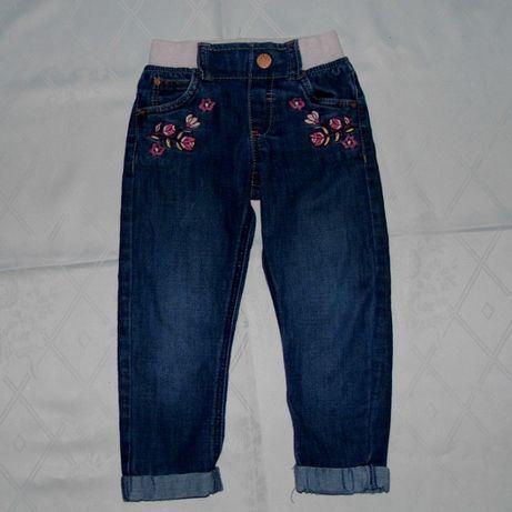 Spodnie 98/104 Dżinsy 2-3 F&F Hafty Jeansy Guma Kieszenie