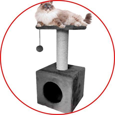 Когтеточка для котов (дряпка) с домиком. Лежанка для котов. DOCS-188
