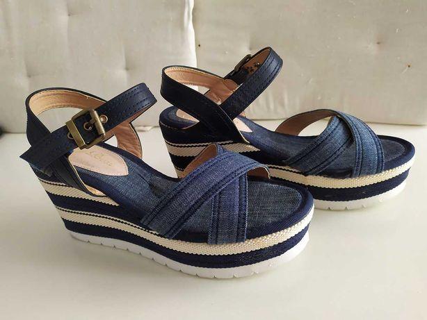 Sapatos senhora - Sandálias em lona - Nº37