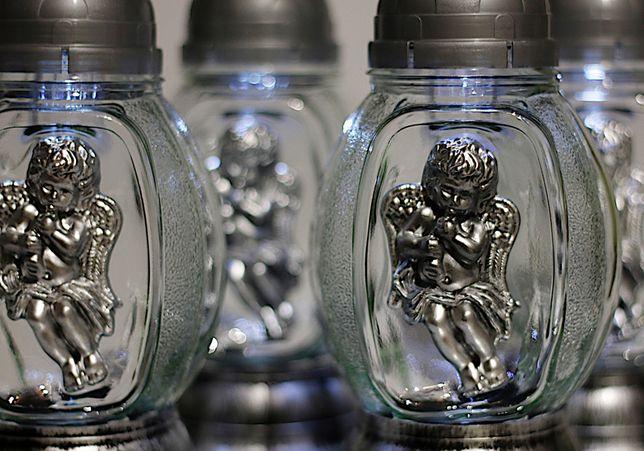 Znicz solarny aniołek srebrny 3D nowość 2020