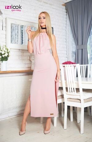 Sukienka maxi blady róż