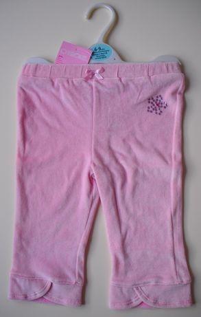 Welurowe spodnie dresowe dla dziewczynki – Nowe (z metką) – rozm. 74