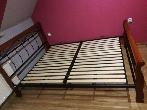 Łóżko metalowe drewniane 160x200