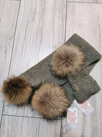 Zimowe zestawy dziecięce czapka szalik z pomponami