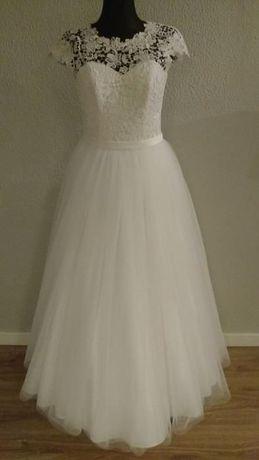 Suknia Ślubna Gipiura Tiul r. 34 xs + Bolerko
