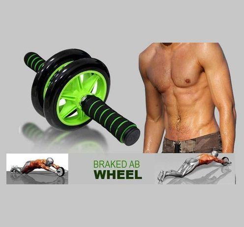 Гимнастическое спортивное фитнес колесо. Тренажер-ролик для мышц