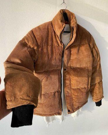 Мужской вельветовый рыжий пуховик (до -10) зимняя тёплая куртка хаки
