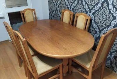 Stół + 6 krzeseł + szafka rtv