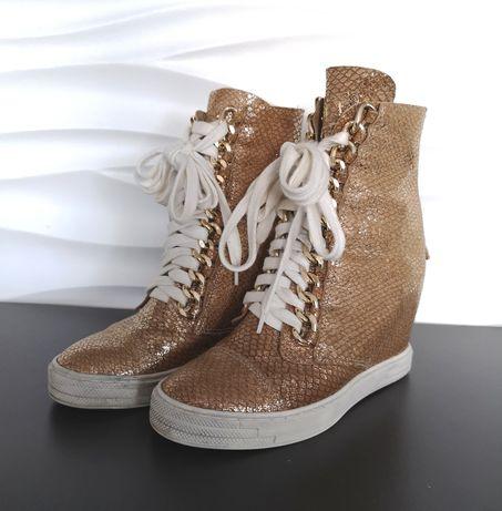 Booci zlote sneakersy koturny JAK NOWE 36