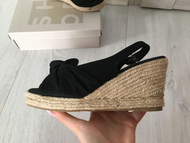 sandały sandałki buty damskie czarne 37 vero moda słoma na koturnie